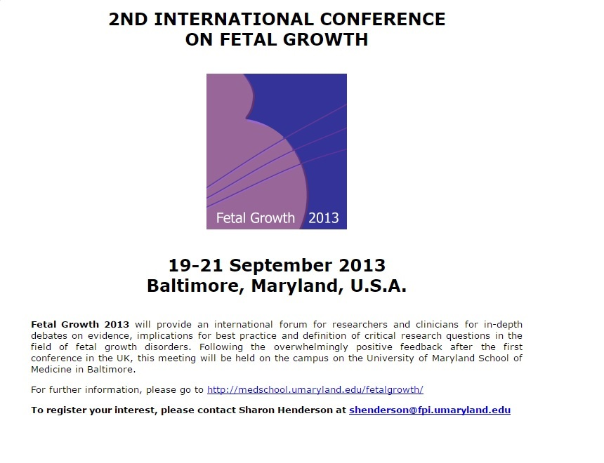 2nd international conference fetal growth
